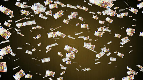 50 Euros Falling 01 Stock Video Footage