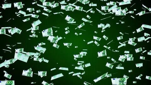 100 Euros Falling 02 Stock Video Footage