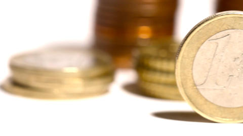 Euro Coins 01 Dolly Isolated on White Stock Video Footage