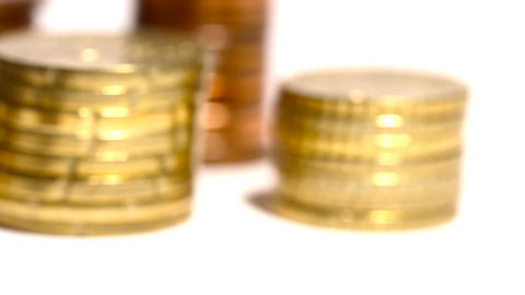 Euro Coins 01 Dolly Isolated on White Footage