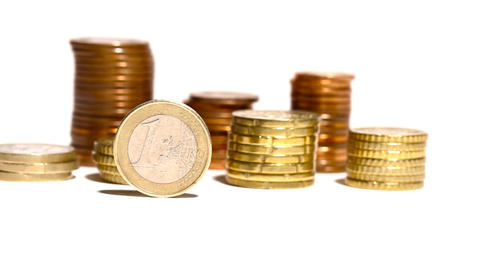 Euro Coins 03 Dolly Isolated on White Stock Video Footage