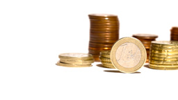 Euro Coins 03 Dolly Isolated on White Footage