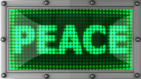 peace announcement on the LED display Stock Video Footage