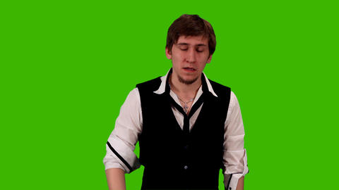 man on a green background Stock Video Footage