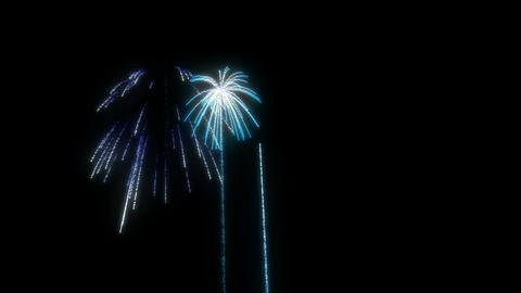 Loopable Blue Fireworks over black. Alpha channel is... Stock Video Footage