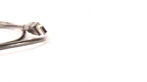 Firewire 400 cable Isolated on White DOLLY left 03 Stock Video Footage