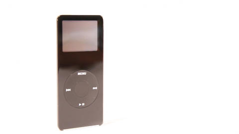 Ipod Nano Mp3 media from 2007 isolated on white Stock Video Footage