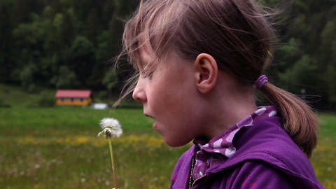 Shot of little girl blowing dandelion's blossom Live Action