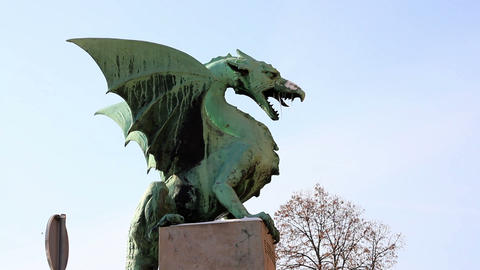 Close shot of a Ljubljana`s dragon statue Live Action