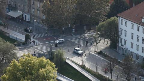 Crossroad in city Ljubljana Stock Video Footage