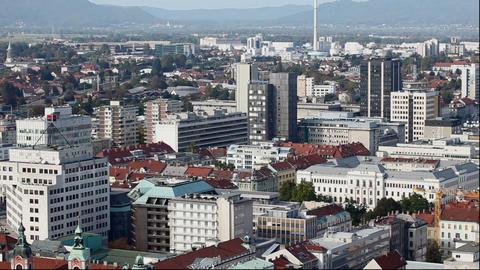 bulidings in the city Ljubljana Live Action