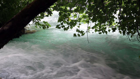 Shot Of The River Rapids On The Krka River-Croatia stock footage