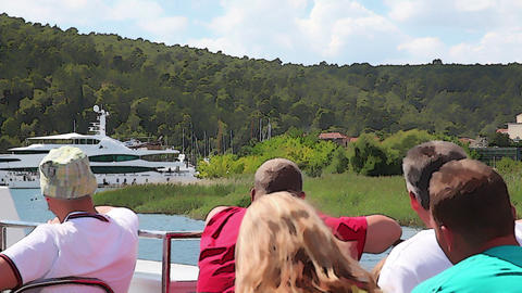 Shot of the tourists on a touristic boat admireing Footage