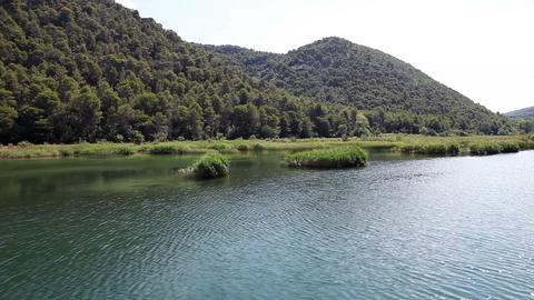 Shot Of River Krka-Croatia From The Floating Boat stock footage