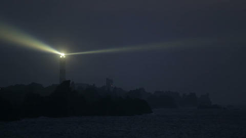 The Creach lighthouse illuminated in evening Footage