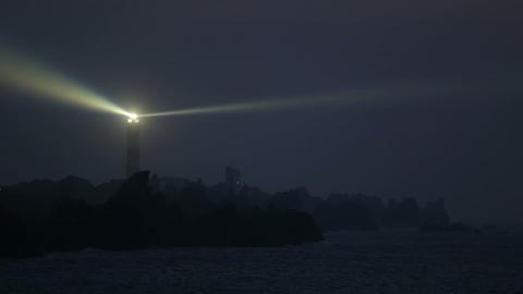 The Creach lighthouse illuminated in evening Footage