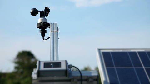 Device for weather forecast and solar panels in th Footage