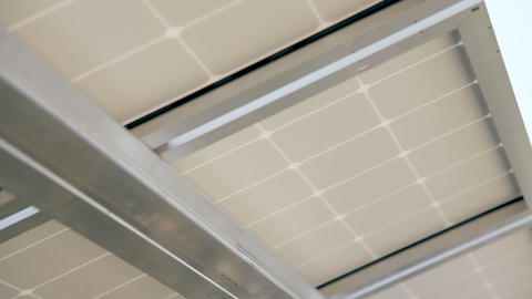Roof From Below Which Has Solar Power Modules stock footage