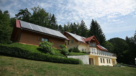 Beautiful house with solar panels on the roof Footage
