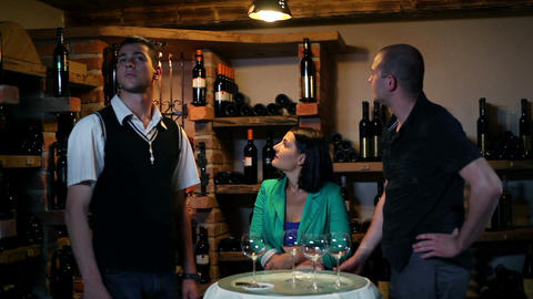 Wine tasting in a cellar Live Action
