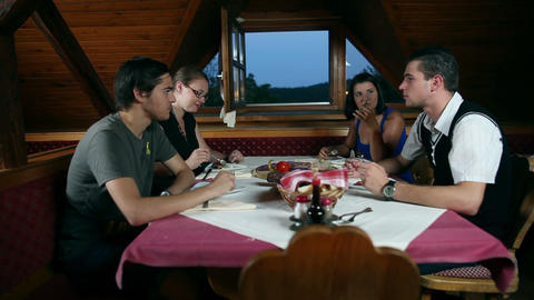 Couples on a date in a restaurant Stock Video Footage