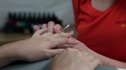 Manicure in beauty salon Footage