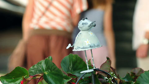 Shot With Focus On Little Mouse Sculpture With Fam stock footage