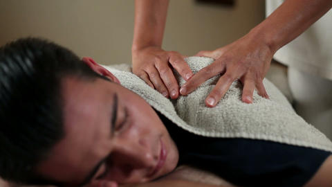 Close Up Of A Man Having A Massage stock footage