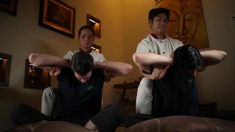 Couple enjoying in a Thai massage Footage