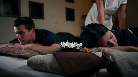 Couple having a massage in a wellness Footage