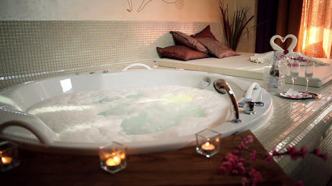Decorated jacuzzi in a wellness center Footage