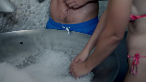 close up of a couple refreshing during relaxation  Footage