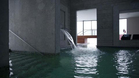 modern indoor pool and fresh water splashing in th Footage