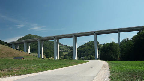 Huge Viaduct From Below Point Of View stock footage