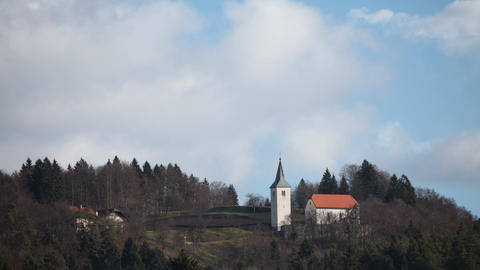 church on a hill in forest Footage