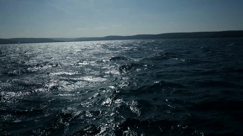 wavy sea shot from sailing boat Footage