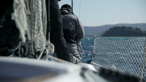 Details of preparing for sailing on sunny day Footage
