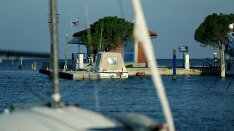 Sailboats parked at pier Footage