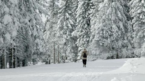 Senior woman walking and enjoying in winter idyll Footage