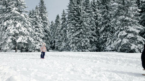 Mother and daughter sledding in beautifuk winter i Footage
