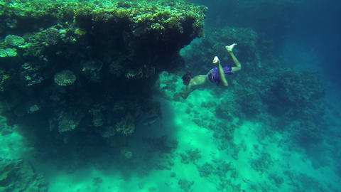 Young man swimming next to sea corals Footage