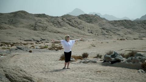 Woman Tourist In Empty Landscape Of Safari stock footage