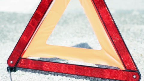Close up shot of warning triangle Live Action