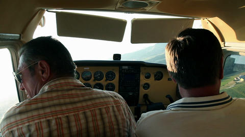 Airplane In Air With Pilot And Copilot stock footage