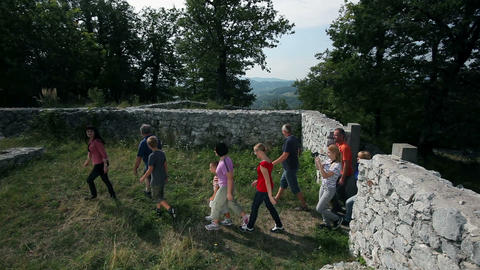 Group Of People Visiting Old Ruins Shot With Dolly stock footage