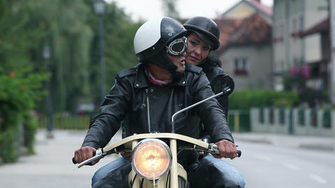 Middle Aged Couple Enjoying The Ride On Retro Moto stock footage