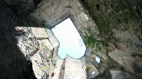 Spining In An Old Medieval Building Without Roof stock footage