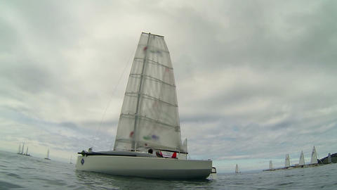 Low angle shot of sailboat waiting for competition Footage