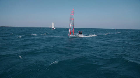 Sailors sailing at extreme speeds at windy day Footage