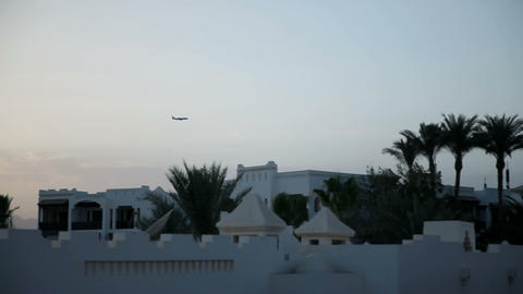 Airplane Take Off Over Sharm Tourist Place stock footage